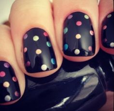 We can do colorful polka dots with Bio Sculpture Gel at Mirror Mirror Salon & Spa in Kelowna, BC