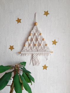 Items similar to x-mas tree Christmas tree macrame Christmas decor knotted rope macrame x-mas tree macrame decor holidays decoration new year decorations on Etsy - Weihnachten Ideen Christmas Craft Fair, Diy Christmas Tree, Cute Crafts, Handmade Christmas, Christmas Crafts, Diy Crafts, Christmas Ornaments, Etsy Christmas, Christmas Wall Art