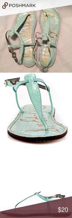Sam Edelman Gigi Sandals Sam Edelman Gigi Sandals in mint green. Only worn once! There's a small stain shown in the last picture but otherwise great condition! Sam Edelman Shoes Sandals