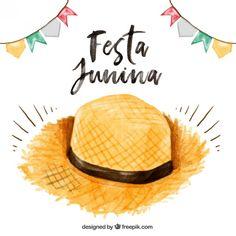 chapéu de palha Aquarela Festa junina fundo Vetor grátis