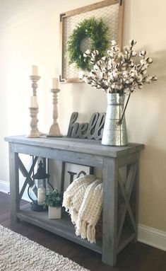 20 Beautiful Entry Table Decor Ideas to give some inspiration on updating your house or adding fresh and new furniture and decoration. Treatment Projects Care Design home decor Decor, Entry Table Decor, Rustic House, Diy Farmhouse Decor, House Colors, Target Home Decor, Living Decor, Entryway Decor, Country House Decor