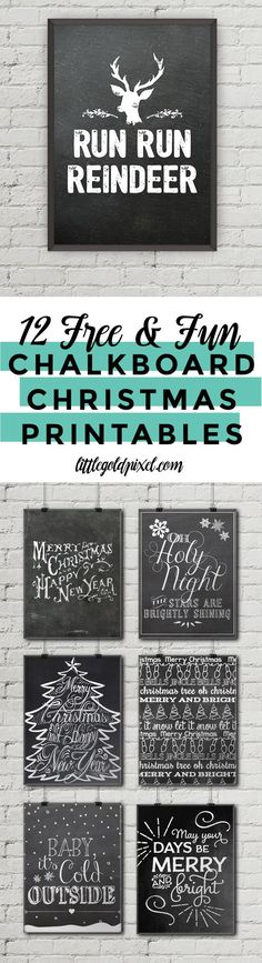 12 Free Chalkboard Christmas Printables • Little Gold Pixel                                                                                                                                                     More