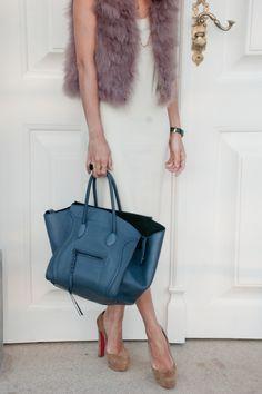 Fur, Louboutin and Celine bag