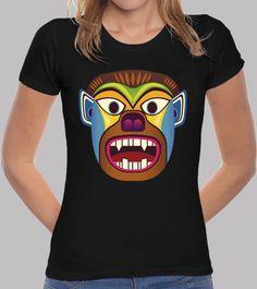 Camiseta mujer de mascara etnica de gorila / hombre lobo inspirado en las mascaras andinas de ecuador