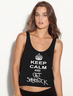 Keep Calm and Get Shelock Ladies Flowy Tank Top