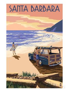 Santa Barbara, California - Woody on Beach Poster by Lantern Press at AllPosters.com