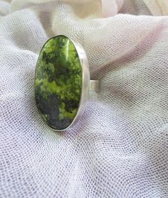 Serpentine and Silver ring large stone set in silver by Perunz, $59.00