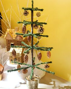 How to make a tabletop tinsel Christmas tree.
