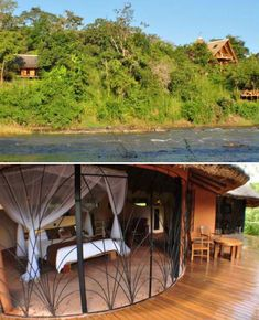 Located on the Nkhotakota Wildlife Reserve in Malawi, the Tongole Wilderness Lodge overlooks a river in one of the country's last 'truly unspoiled' wildlife areas. Offered as an eco-friendly place to stay in the region, the open-air lodge was built from local materials including clay, rock, wood and thatch.