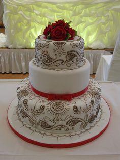Indian Wedding Cake- Dainty Red & White!  Posted by Soma Sengupta