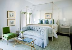 Suzie: Melanie Turner Interiors - Elegant blue & green bedroom with pale blue walls paint ...