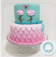 "Doce Parceria on Instagram: ""Flamingos! #cake #cakestagram #deliciadoceparceria #boloflamingo #flamingocake #ombrecake"""