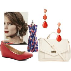 """Wrinkle-free Blossom Dress - 2014"" by lauren-buendia on Polyvore.  Wrinkle-free floral jersey dress; cream bag; coral earrings; coral heels; loose bun hairstyle."