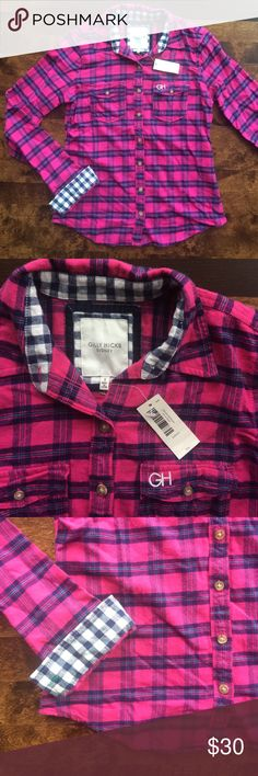 Gilly Hicks • Pink & Blue Flannel • Size S BRAND NEW WITH TAGS • Gilly Hicks Pink & Blue Flannel • size s • never worn • cute navy check pattern on inside of cuffs • price on tag is £34 euro ($36.37 U.S. dollars) Gilly Hicks Tops Button Down Shirts