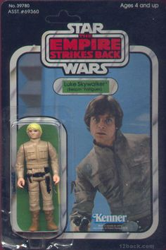 Vintage Kenner Star Wars: The Empire Strikes Back, Luke Skywalker in Bespin fatigues action figure, on 48 figure cardback