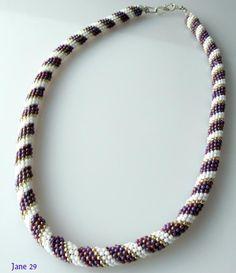 Tubular Peyote Stitch Purple and White Beadweave Necklace
