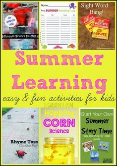 Summer learning activities for kids- summer science experiments, summer book club, summer road trip learning ideas.