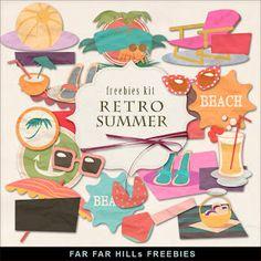 Far Far Hill: Freebies Kit of Retro Summer Elements