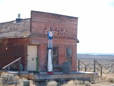 The old Grocery store in the Ghost Town of Fort Rock Oregon. It is now preserved as part of the Fort Rock Homestead Village Museum