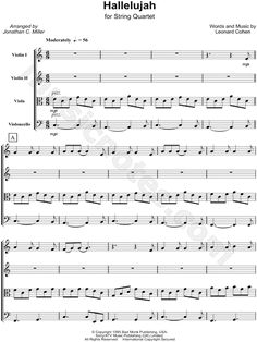 Print and download Hallelujah - String Quartet sheet music by Leonard Cohen arranged for Violin 1 or Violin 2 or Viola or Cello. String Quartet, and Score & Parts in C Major.