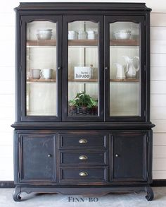 "Gorgeous hutch restyle in General Finishes Lamp Black Milk Paint. ""The transform… – ohumuch Gorgeous hutch restyle in General Finishes Lamp Black Milk Paint. China Hutch Makeover, China Cabinet Redo, Cabinet Makeover, Farmhouse China Cabinet, Hutch Redo, China Cabinet Display, Refurbished Furniture, Farmhouse Furniture, Paint Furniture"