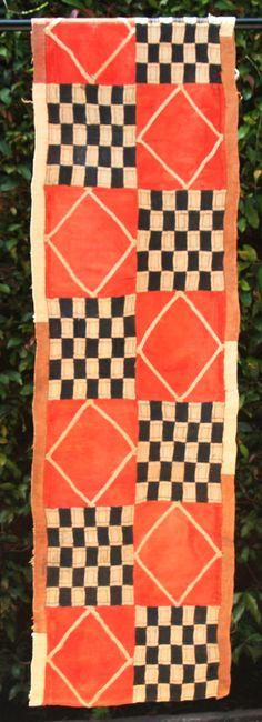 Kuba Cloth African Textile Orange Black by AfricanArtHomeDecor