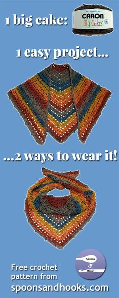"Free crochet pattern: One ""big cake"" shawl scarf – Spoons & Hooks"