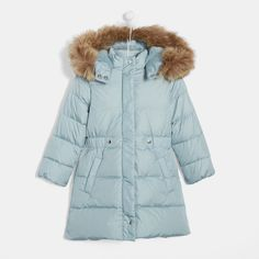 Le Chic Girls Puffer Coat with Ruffles Peach Sizes 3-12
