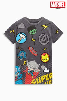 Buy Charcoal Marvel Badged T-Shirt from the Next UK online shop Toddler Boys, Kids Boys, Infant Boys, Marvel, Toddler Outfits, Boy Outfits, Kids Prints, Summer Baby, Boys T Shirts