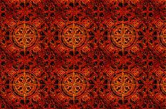 MANDALA TILES FIRE FLAME ORANGE FALL fabric by paysmage on Spoonflower - custom fabric