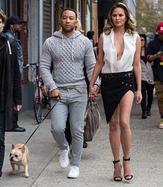 Look street style de Chrissy Teigen + John Legend.