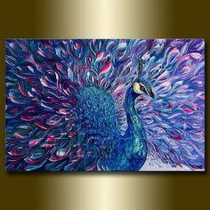 Pintura del pavo real Arte Moderno Animal textura Espátula óleo original en la lona 20X30 por Willson Lau en Etsy, $ 325.00: