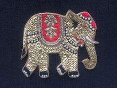 Royal Elephant Zardozi Embroidery Patch,Indian Handmade Royal Animal Patch Gold Sequins Bullions Cutwork Zari Red Embroidery W by IndianCraftSafari on Etsy Zardosi Embroidery, Embroidery On Kurtis, Bead Embroidery Patterns, Hand Work Embroidery, Embroidery Fashion, Embroidery Patches, Hand Embroidery Designs, Embroidery Applique, Beaded Embroidery