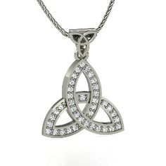 Double Trinity Pendant, White Gold Necklace with Diamond from Gemvara