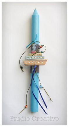 """Easter Candle - """"Happy Blue Boat"""""""