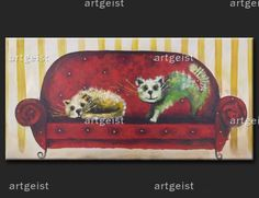 Wandbild Katzen auf dem Sofa - Kunstbilder; art fotos von agus  cats