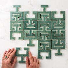 Chaine Femme tiles in Sea Foam.