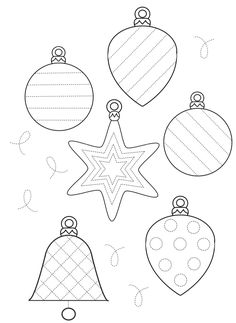 novogodnie-propisi-elochnye-igrushki Noel Christmas, Christmas Colors, Christmas Decorations, Christmas Ornaments, Christmas Templates, Christmas Printables, 1st Grade Crafts, Christmas Activities For Kids, Theme Noel