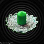 Green ceramic candle pad. Zielona ceramiczna podstawka pod świecę.