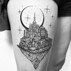 Magical 'Mont Saint Michel' tattoo by @thomasetattoos What was your first tattoo?