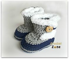 Fuzzy Booties by Crochet Zone -Free Crochet Pattern ༺✿ƬⱤღ✿༻