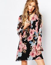 Honey Punch Festival Bell Sleeve Dress In Floral Print