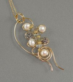 """freeform wire beaded jewelry   Freeform"""" Gold-Filled Wire-Wrapped Labradorite, Cultured Pearl from ..."""