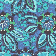 Amy Butler - Soul Blossoms Home Dec - Trailing Orchid in Blue Velvet