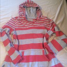 Coral/heather gray hooded pullover with pockets Long sleeved Size Medium Sonoma striped pullover. Only worn a few times, no rips tears or stains. Sonoma Sweaters