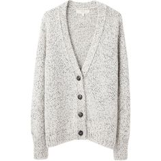 Vanessa Bruno Athé Cardigan (€210) ❤ liked on Polyvore featuring tops, cardigans, outerwear, sweaters, ivory cardigan, long sleeve tops, chunky knit cardigan, low v neck tops and thick knit cardigan