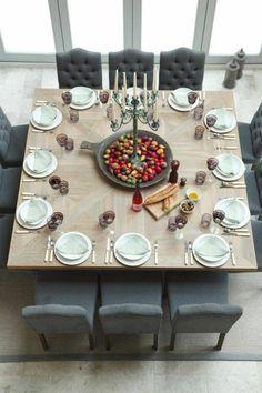 belle table carrée à manger