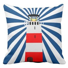 We love, love, love this lighthouse throw pillow! The navy-blue-and-white stripes make a dramatic beam of light coming out of the lighthouse. The colors (red, white, and navy blue) also match perfectly. Nautical Flip Flops, Navy Blue, Blue And White, Decorative Throw Pillows, Lighthouse, Beams, Duvet, Stripes, Colors