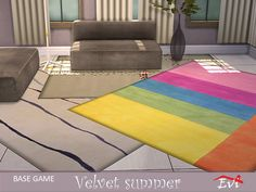Decor: Velvet summer rugs by evi from The Sims Resource Sims Community, Sims Resource, Sims 4 Custom Content, Electronic Art, Decoration, Velvet, Rugs, Create, Summer