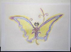 Butterfly Cross Sketch, signed - vss art